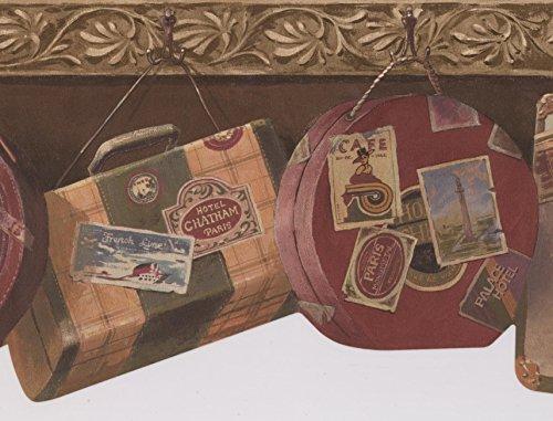 "Retro Art Rollo de bolsas maletas vintage colgada en ganchos pino verde fondo frontera diseño Retro, 15' x 9"""