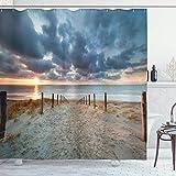 Strand-Duschvorhang, Strand-Spaziergang, Nord-Holland, Niederlande Sonnenuntergang, romantische Sonnenstrahlen, Stoffstoff, Badezimmer-Dekor-Set mit Haken, 183 x 183 cm, Blaugrau Beige Braun