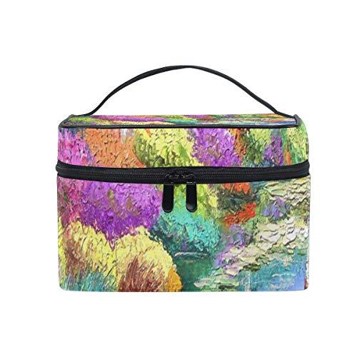Maquillage Sac Jardin En Peinture Fleurs Maison Cosmétique Sac Portable Grand Trousse De Toilette pour Femmes/Filles Voyage