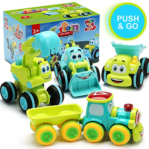 Toys for a 2 Year Old Boy - 4 Friction Powered Trucks for 2+ Year Old Boys, Push & Go Cars Cartoon Construction Vehicle Set - Best Toddler Boys Toys & Toy Trucks, Play Pull Back Car, Idea