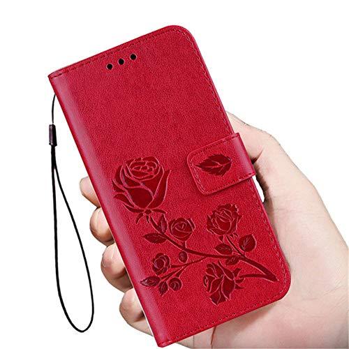 ZXMDP Adecuado para iPhone 5 5S SE 5C SE 6C 7S 7S 7S 8 Plus SE2 Tarjetero Tipo Billetera Rosa, 3Red, para iPhone 7