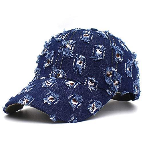 Herren Kappe Cap Mode Streetwear Patch Loch Hip Hop Face Caps Für Frauen Männer Sonnenschutz Baseball Cap Blue Cotton Outdoor Hut-Deep_Blue_Adjustable