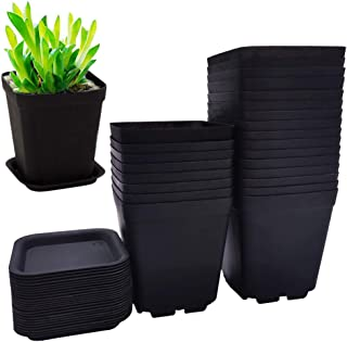 Plastic Square Plant Flower Pot Succulent Plant Pots Container Black O2W7
