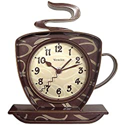 Westclox 8 Analog Quartz Coffee Cup Brown Wall Clock 32038