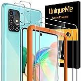 [4 Pack] UniqueMe para Samaung Galaxy A71 [2 Pack] Protector de Pantalla y [2 Pack] Protector de lente de cámara, [Dureza 9H][Sin Burbujas] HD Cristal Vidrio Templado