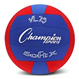 Champion Sports Fabric Volleyball with No-Sting Cover, Indoor - Soft Volleyballs for Beginners - Red/Blue