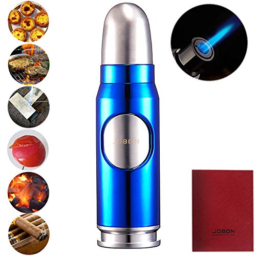 Bullet Cigar Lighter Metal Windproof Torch Refillable Butane Gas Lighters for Outdoor BBQ with Gift Box (Butane Not Included) (Blue)