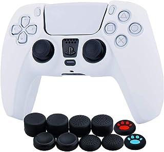 Funda de piel de silicona para Sony PS5 Dualsense Controller x 1 (blanco) con agarres para el pulgar x 10