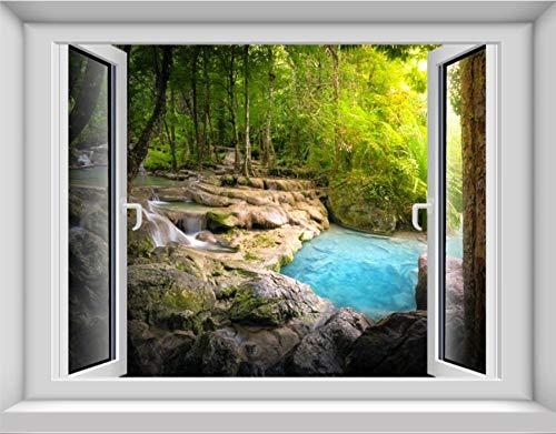 3D simulación de un dormitorio Ventana falsa Pintura de pared autoadhesiva, Fondo de pantalla de TV Paisaje Sala de estar Muro de Sea Forest, Vinilo 90X70Cm