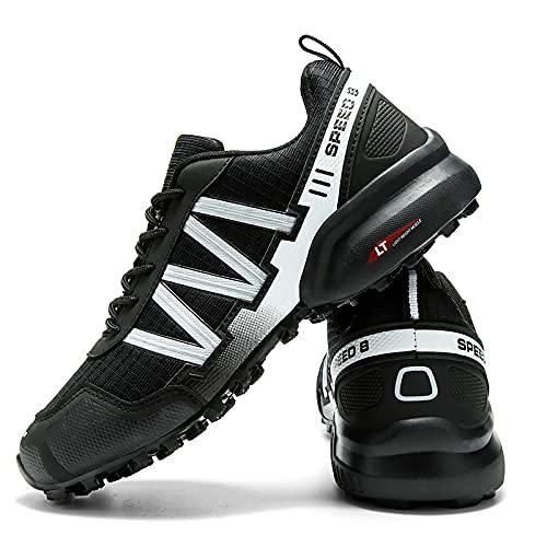 KUXUAN Calzado de Ciclismo para Hombre, Calzado de Ciclismo de Interior Sin Bloqueo,Zapatillas de Ciclismo de Montaña Impermeables,Calzado Deportivo Antideslizante Al Aire Libre,Black+White-43