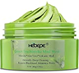 Hebepe Matcha Green Tea Facial Detox Mud Mask with Aloe Vera, Deep Cleaning, Hydrating, Detoxing, Healing, and Relaxing Volcanic Clay Facial Mask