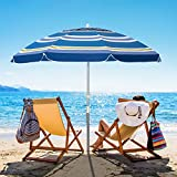 Bumblr 6.5ft Beach Umbrella with Sand Anchor & Tilt Mechanism Outdoor Sunshade Portable Umbrella with Carry Bag Wind...