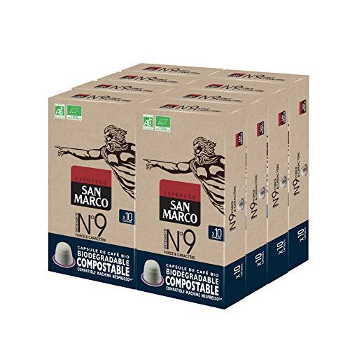 San Marco - Capsules de Café Bio N°9 - Force et Caractère - 100% Arabica - Capsules Compostables, Sans Aluminium - 8 x 10 Capsules Compatibles Machines Nespresso® *