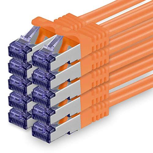 Cat.7 Netzwerkkabel 0,5m - Orange - 10 Stück - Cat7 Patchkabel (SFTP/PIMF/LSZH) Rohkabel 10 Gb/s mit Rj 45 Stecker Cat.6a - 10 x 0,5 Meter Orange