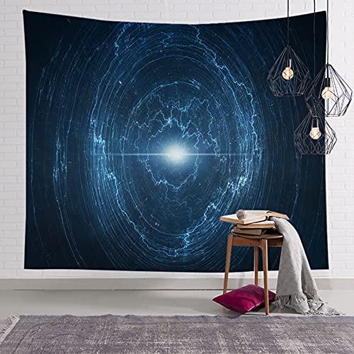 JIPMFYA tapizTrippy Color Universo Azul Negro Colgante de Pared Cielo Estrellado Planeta Tapiz decoración para Dormitorio Tela Sala de Estar en casa