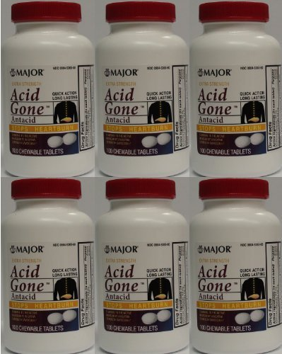 Acid Gone Antacid Chewable Generic for Gaviscon Extra Strength Chewable Tablets 100 Ct. Per Bottle Pack of 6 Bottles Total 600 Tablets by Major Pharmaceuticals