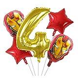 Kfdzsw Ballons 5pcs Ballons Dessin animé 30inch Nombre de Ballons Ballons d'anniversaire de fête d'anniversaire décor Enfants Jouets Fête (Color : Gold 4)