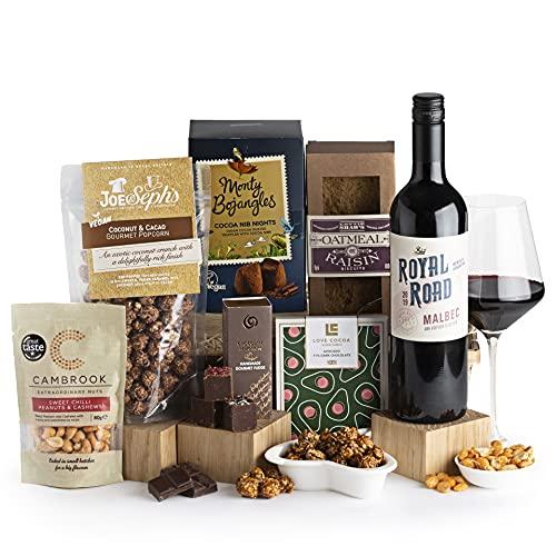 The Vegan Treats and Wine Hamper - Vegan and Wine Hampers - Wine Hampers and Gift Baskets for Vegans - Birthday or Thank You Hamper