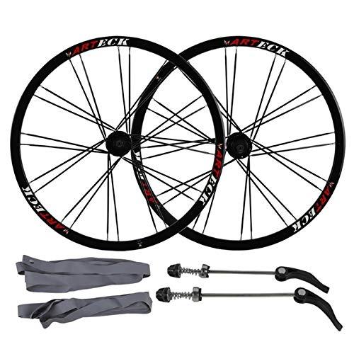 ZCXBHD 26 Pulgadas Bicicleta Freno De Disco Juego De Ruedas Bicicleta De Montaña Plano Habló Rueda Liberación Rápida 8/9/10 Velocidad Casete 24 Orificios (Color : Black hub, Size : 26inch)