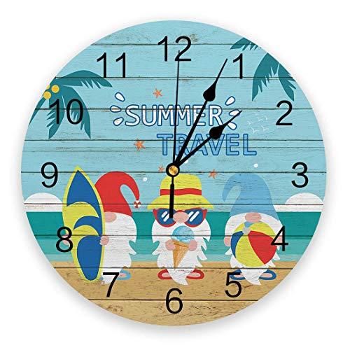 Summer Funny Gnome - Reloj de pared con tabla de surf, palmera, silencioso, sin tictac, 10 pulgadas, relojes de pared redondos que funcionan con pilas para dormitorio, sala de estar, oficina, escuela,