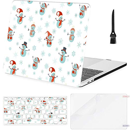MacBook Pro 15inch Retina(2013-2015) with Retina Display,A1398 Case,Plastic Snowmen On White Hard Shell Case with Keyboard Cover & Screen Protector & Cleaning Brush
