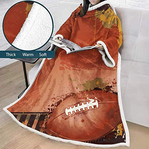 ZHANGXJ Bequem Drop Shipping Decke Mit Ärmeln 3D Printed Rugby Für Erwachsene Mikrofaser Sherpa Fleece-Sofa-Decke Im Freien Plüsch Coral Manta Warm