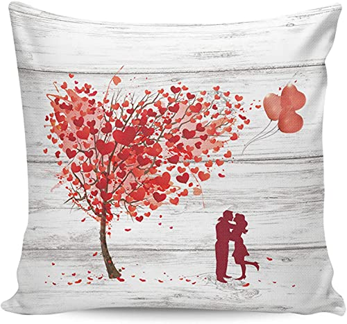 Happy Valentine's Day Love Ballon Kiss Funda de almohada de grano de madera de 18 x 18 pulgadas,funda de almohada cuadrada,suave y moderna funda de almohada para sofá para decoración de casa de campo