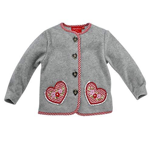 Alpenglück Baby-Trachten Fleecejacke in hervorragender Qualität Gr. 98 I Schöne Mädchen-Fleecejacke in Grau I Baby Fleece-Jacke für Kinder und Kleinkinder I Langärmlige Kuscheljacke aus Fleece