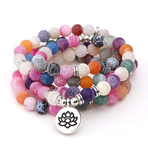 Maniny Pulsera Colorida Collar de 8 mm con 108 Cuentas Redondas y Rosario Budista de la de Mala Pulsera de Yoga Colorful Bracelet - Hollow Lotus Pendant