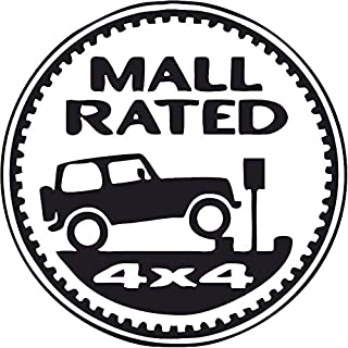 All About Families MALL Rated 4X4 Jeep ~ Black ~ Window Sticker/CAR/Truck/RV/Boat with Alcohol PAD~ Size 5
