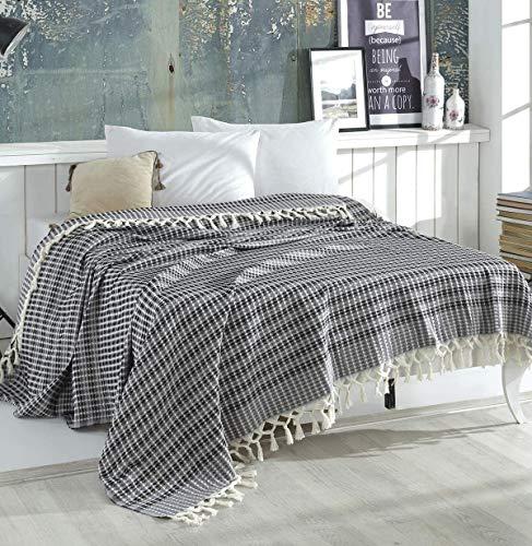 WSHFOR Wohndecke hochwertig - ideal für Bett und Sofa, 100% Baumwolle - handgefertigte Fransen, 220x250cm (Schwarz/Grau)