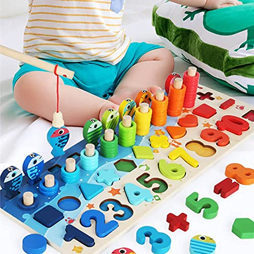 WML 3D Counting Numbers STEM Montessori Early Development Educational Puzzle Wooden Thick Toy Children Busy Board Magnetic Fishing Shape Matching Blocks Math Educational Toys Birthday Baby in Gift Box