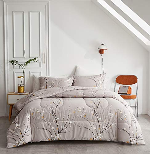 FlySheep Queen Comforter Set Tree Branch Floral Pattern, Spring Bloom Printed 3 Piece Modern Bedding Set for Men and Women