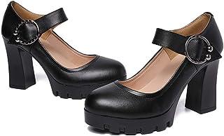 [ジョイジョイ] パンプス 婦人靴 太めヒール ラウンドトゥ レディースシューズ ブラック オフィス ビジネス 防水 厚底 軽い 履きやすい 歩きやすい ヒール8cm/ハイヒール シンプル 卒業式 入学式 結婚式