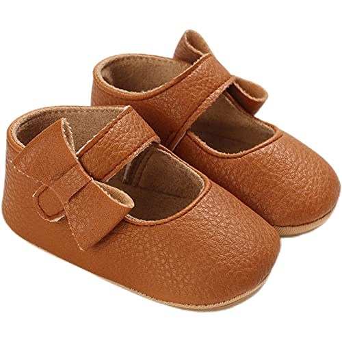 AMSDAMA Girl Baby Shoes Infant Non-Slip Rubber Sole PU Soft Leather with Bowknot Mary Jane Shoes Flats Toddler (Rubber Sole/Brown D40 6 Months)