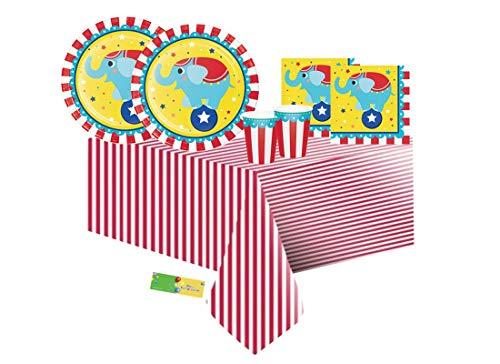 Creative Converting IRPot - Coordinato TAVOLA 113 PX Piatti Bicchieri Compleanno Bambini Tema Circo Circus