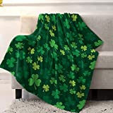 Super Soft Cozy Flannel Fleece Blanket St. Patrick's Day Lightweight Comfy Throw Blanket for Bed/Couch/Sofa/Camping- Green Lucky Shamrocks Irish Clover 39 x 49 Inche