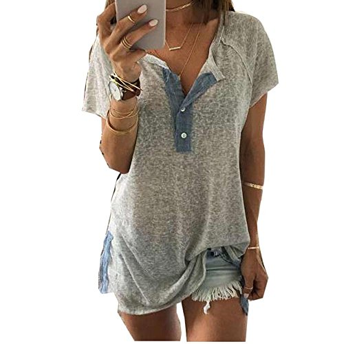 Sunhusing Clearance Price!Women's Button Buckle Casual Short Sleeve T-Shirt Neckline Patchwork Tops (3XL, Gray)