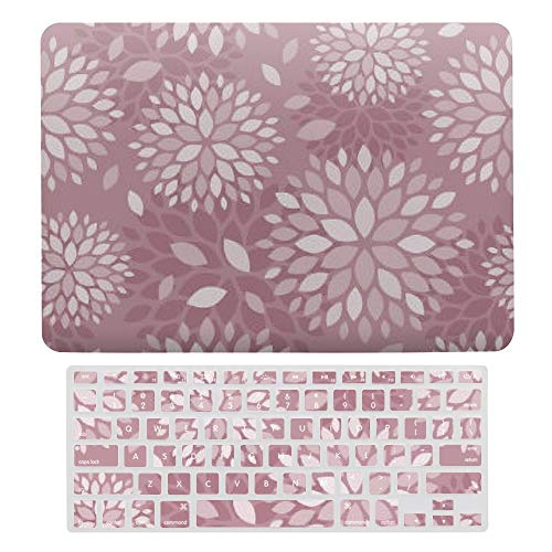 MacBook Pro 13 inch Case 2020 2019 2018 2017 Release A2159 A1989 A1706, Plastic Hard Protective Laptop Case Shell With Keyboard Cover, Mauve Modern Floral