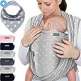 Babytragetuch Hellgrau mit Sternen – hochwertiges Baby-Tragetuch für Neugeborene und Babys bis 15 kg - inkl. GRATIS Baby-Lätzchen
