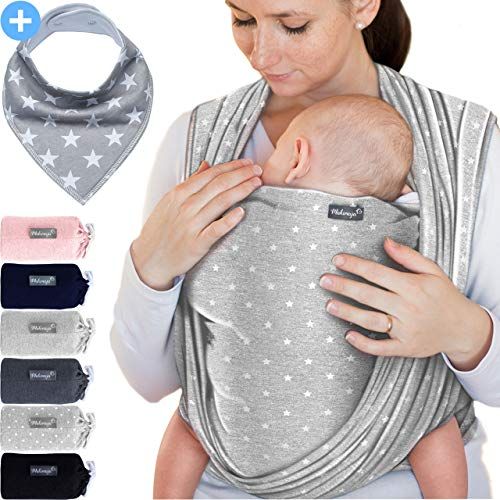 Portabebés gris claro con estrellas - para recién nacidos y bebés hasta 15 kg - hecho de algodón suave
