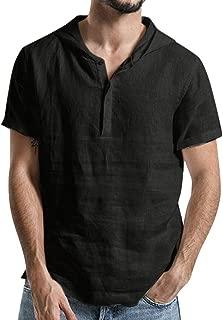 TOPUNDER Men's Baggy Cotton Linen SOID Color Short Sleeve Hooded T Shirts Tops Blouse