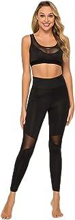 Yinew - Pantaloni sportivi con cuciture a rete a vita alta, pantaloni sportivi aderenti, per allenamento, corsa, yoga, da ...