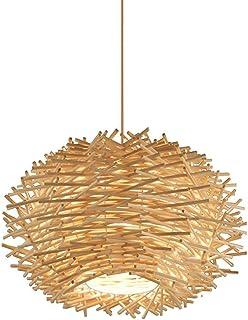 Xungzl Creative Bird's Nest Shape Single-headed Bamboo Pendant Lighting, Southeast Asian Style Round Ball Simple Chandelie...
