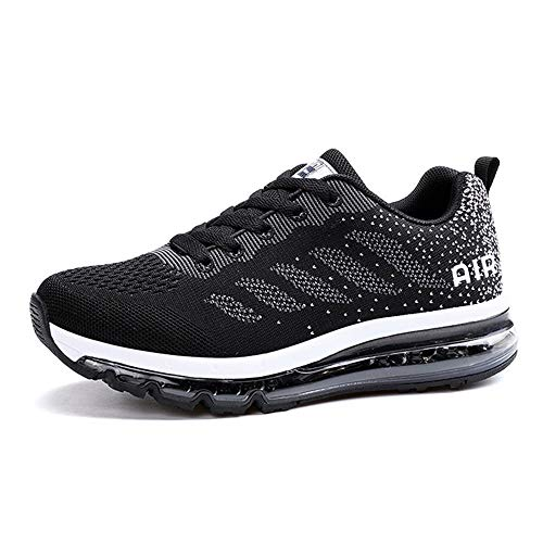 Monrinda Unisex Zapatillas de Deporte Mujer Deportivo Zapatos para Correr Hombre Runing Sports Trainers Gimnasio Air Cushion Black 37EU