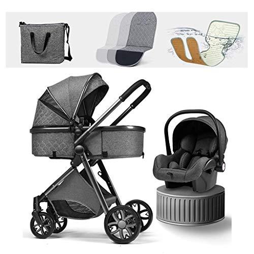 JIAX Cochecito De Bebé Ligero Cochecito para Recién Nacidos 3 En 1 Sistema De Viaje para Cochecito De Bebé con Cubre Pies Parasol Protector Sabanas Mosquitera Mochila (Color : Black Gray)
