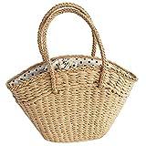 Kuinayouyi Bolso de las mujeres de mimbre tejido de las señoras bolso de hombro playa paja tejida bolsa de gran capacidad portátil punto grande cesta cartera B, color Verde, talla Talla Unica