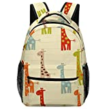 Mochila escolar Casual Colorful Giraffe Pattern on The Line Backpack Adjustable Daypack Lightweight Sackpack One Size For Student & Outdoor Polyester Fabric Durable Strong