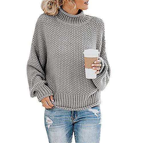 qulvyushangmaobu Sudaderas para Mujer con Cuello Alto y Manga Larga Suéter Señoras Suéter de Punto Cuello Alto Ocio Suéter Tops de Gran tamaño Abrigo Acogedor Jersey