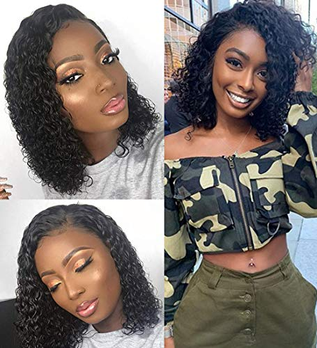 10 A Brazilian Curly Virgin Human Hair Bob Lace Front Wigs Pre Plucked With Baby Hair 4x4 Lace Closure Wigs Glueless 150% Density Lace Front Human Hair Wig For Women 12 Inch Natural Color